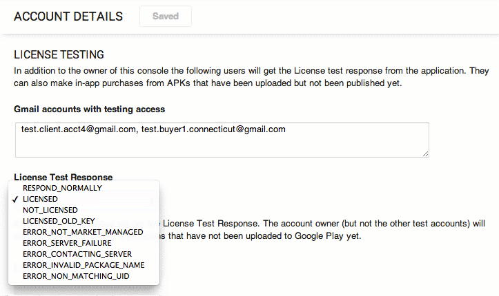 Custom License Responses